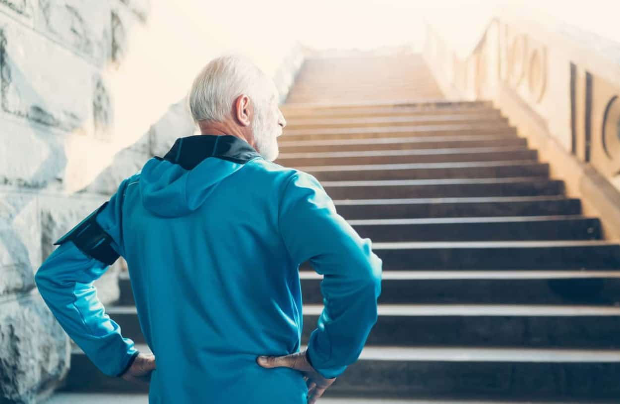 Approaching-Retirement-Man-Running-up-steps